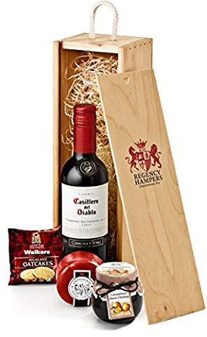 Regency Hampers Cheese Gift Set in Wooden Box Red Wine