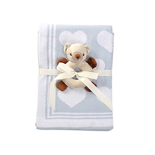JYCRA Baby Decke, weich Atmungsaktiv Bio Infant Stricken Decke SWADDLE WRAP Decke, perfekt für Neugeborene Jungen Mädchen Dusche Geschenke, 100x 75cm, baumwolle, Blau Herz, 100x75cm (Baby Decke Stricken Muster Einfach)