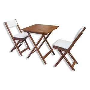 Roller Ensemble table et 2 chaises pour balcon en bois massif