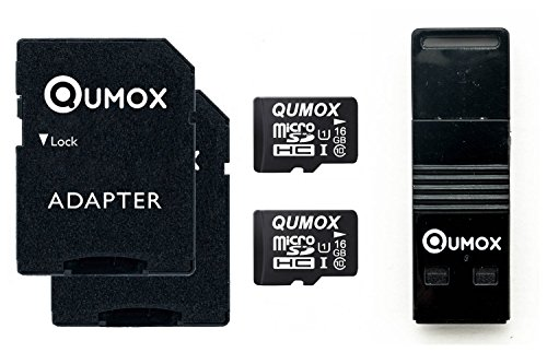 QUMOX 2x 16GB MICRO SD-Klasse 10 UHS-I-Speicherkarte 16 GB mit USB OTG Karteleser
