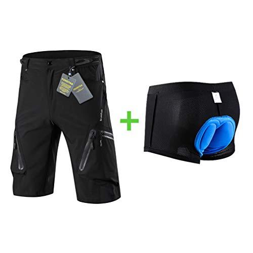 foveitaa MTB Hose Herren Radhose, Wasserabweisend Mountainbike Kurz, Outdoor Sport Fahrradhose Herren Shorts Black with Pad XL