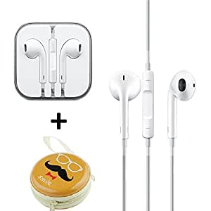 Techonto Earphones Handsfree Headphones Earpods With Mic And Volume Button For Apple iPhone, iPad, iPod, Android Phones 3.5MM Jack with combo of Hipster Zipper Cable Coin Earphone Earbuds Storage Case.