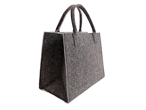 CB Home & Style Filztasche Einkaufstasche Tasche Shopper ca. 35 x 20 x 28 cm (Anthrazit-Hellgrau)