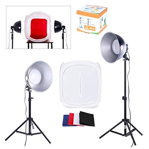PhotoGeeks TT1kontinuierliche Beleuchtung Tabletop Fotografie Kit/60x 60cm Light Zelt/2x 35W Leuchtstoffröhre 5500K Leuchtmittel/2x 2m Lichtstativ/Stativ