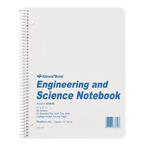 National Engineering & Wissenschaft Notebook, weiß, 27,9x 21,6cm 60Blatt (33610) (Fester Einband Draht-notebook)