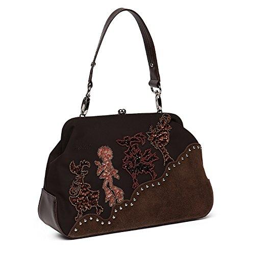 Elegante borsa a spalla con disegno ricamato TESTA DI MORO