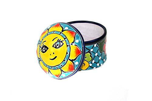 Bunte Dose mit Deckel, Sonne, ideal für Kleinteile, Bad, handbemalt, türkis