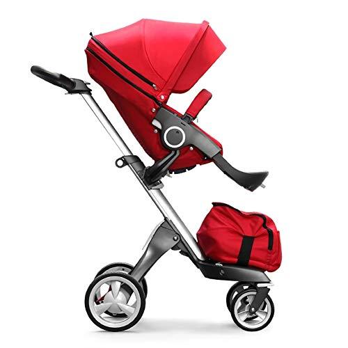 GKBMSP Kinderwagen Faltbarer Leichter KinderwagenTravel System mit Sitz- und Liegefläche Wendbare Basis für 0-36 Monate-rot (Kinderwagen Basis)