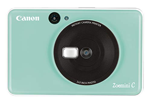 Canon Zoemini C digitale 5 MP Sofortbildkamera (Sucher, Blitzlicht, Micro-SD Kartenslot, Selfie Spiegel (11x8 mm), 5 x 7,6 cm Aufkleber, ZINK-Druck tintenfrei), mint green