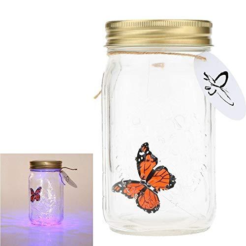 Schmetterling Flaschenlampe - Romantisches Glas LED Lampe Butterfly Jar, Schmetterling im Glas LED Lampe -Weihnachtsvalentinsgruß-Kindergeschenk-Inneneinrichtung(Orange) -