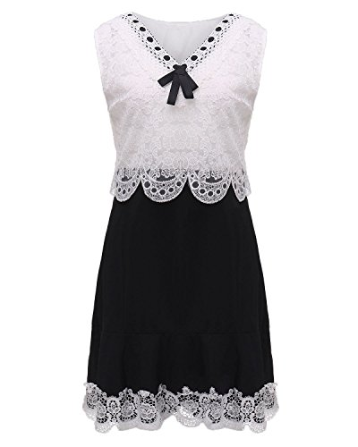 ZANZEA Femme Bodycon Sexy Col V Mini Robe Dentelle Crochet Evening Partie Dress Blanc