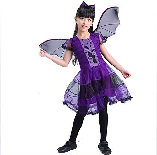(QSEFT Niedlich 3Pcs Mädchen Halloween Lila Fledermaus Vampir Prinzessin Kleid Flügel Stirnband Cosplay Kostüm Kinder Sets Scary Clown Ghost Witch,120Cm)