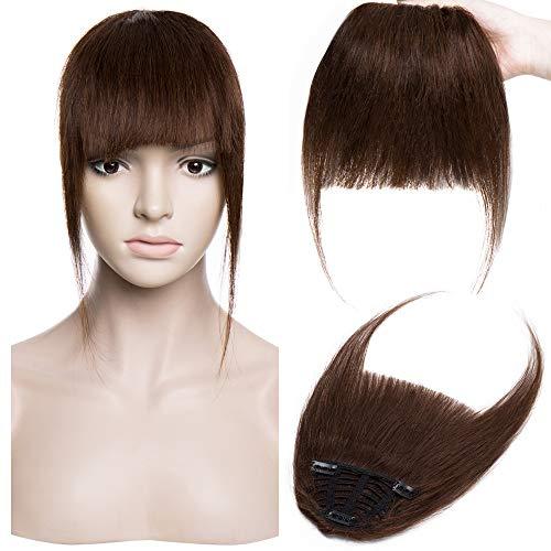 Silk-co Pony Haarteil Echthaar Mittelbraun #4 Clip in pony - Extensions Echthaar Haarteil Haarverlängerung mit Tempel Ein Stück 25g