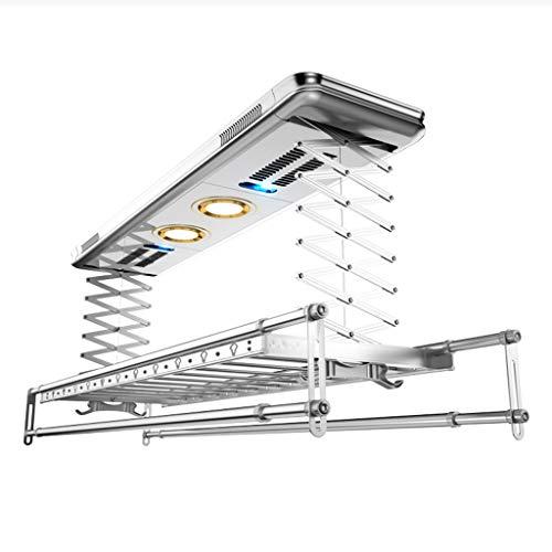 Kalo stendibiancheria da interno pieghevole stendino elettrico stendibiancheria a soffitto stendino a soffitto con telecomando, asciugatura ad aria calda, disinfezione, ioni negativi, argento