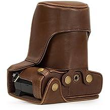MegaGear Ever Ready - Funda protectora de cuero de la cámara, bolso para Olympus OM-D E-M5 Mark II, 12-40mm / 40-150mm, marrón oscuro