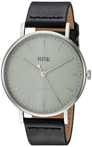 Vestal Men's Sophisticate' Swiss Quartz Stainless Steel and Leather Dress Watch, (Model: SPH3L06) One Size Black