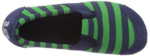 Living Kitzbühel T-Modell Fußball mit Streifen Jungen Flache Hausschuhe Mehrfarbig (marine/verde 562)