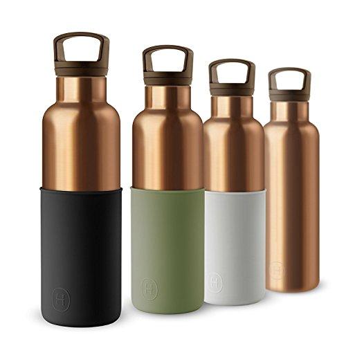 hydy Vakuum Isoliert Thermo Wasser Flasche 20oz-BPA-frei Edelstahl-Umweltfreundlich-Ideal für Übung, die Büro und Reisen-Modern Urban Design, BRONZE GOLD- MIDNIGHT BLACK