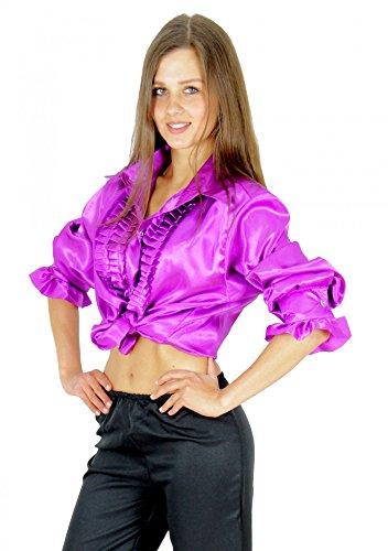 Foxxeo 40197 | Rüschenhemd lila für Herren violett Hippie Hemd 70er 80er Kostüm Retro Gr. S-XXL, Größe:XL