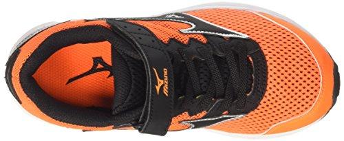 Mizuno  Wave Rider Velcro Jnr, chaussures de course Unisexe - enfant Multicolore (Clownfish/Black/Silver)