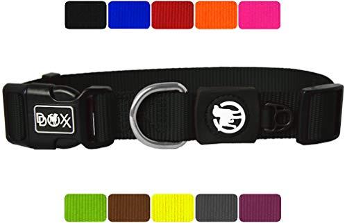 DDOXX Hundehalsband Nylon in vielen Farben & Größen für kleine & große Hunde | Halsband Hund Katze Welpe | Katzenhalsband klein | Hunde-Halsbänder breit Leuchtend | Schwarz, M -