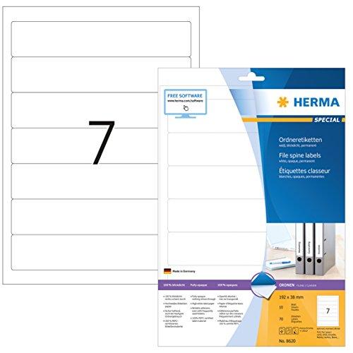 Herma 8620 Ordnerrücken blickdicht, schmal/kurz (192 x 38 mm weiß) 70 Ordner Etiketten, 10 Blatt A4 Papier matt, weiß, bedruckbar, selbstklebend (Blatt Schmales)