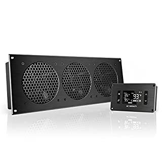 AC Infinity AIRPLATE T9, Quiet Cooling Fan System with Thermostat Control, for Home Theater AV Cabinets