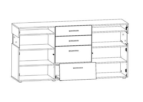 Peter MNWW511020 Sideboard glänzend Nachbildung, Hochganz MDF, inclusive LED-Beleuchtung, circa 180 x 88 x 43 cm, weiß - 2