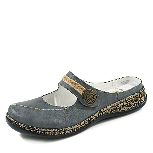 Rieker Damen 46391 Clogs, Blau (Jeans), 39 EU (Leder Clogs Denim)