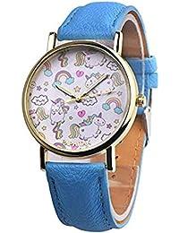 MAMAPAPA Unicornio Estudiante Reloj Correa Cuarzo Reloj Femenino (Blue)