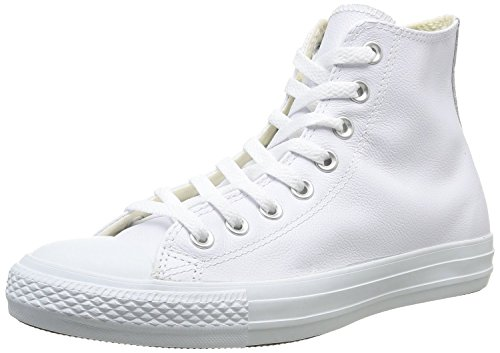 r All Star Shoes (1T406) Leather Hi White Monochrome 12 ()