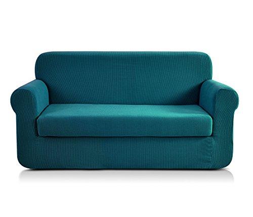 Chun yi 2-pezzi copridivano jacquard monocromatico in tessuto elastico(divano, verde blu)