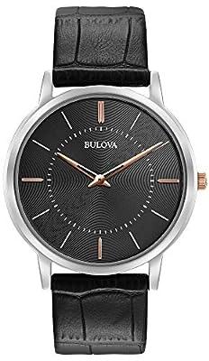 Bulova 98A167 - Reloj de Pulsera de Diseño para Hombre - Ultrafino - Correa de Cuero - Negro de Bulova