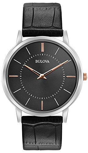Bulova 98A167 - Reloj de Pulsera de Diseño para Hombre - Ultrafino - Correa de Cuero - Negro