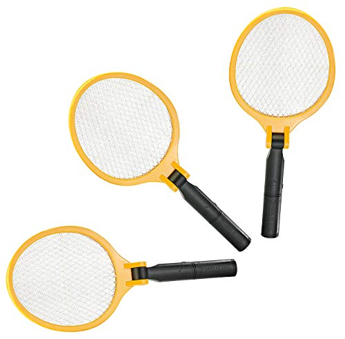infactory Mückenklatsche: 3er-Set Elektrische Fliegenklatsche mit klappbarem Griff (Elektrische Mückenklatsche)