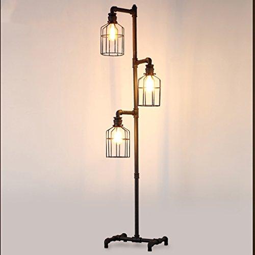 Tuyau de fer Lampadaire Lampadaire de style industriel LOFT Lampadaire en fer forgé Vintage décorations en métal artisanat L33 * W34 * H164cm