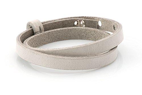 Lederarmband - hellgrau, 43cm, Schmuck-Armband für Schiebeperlen
