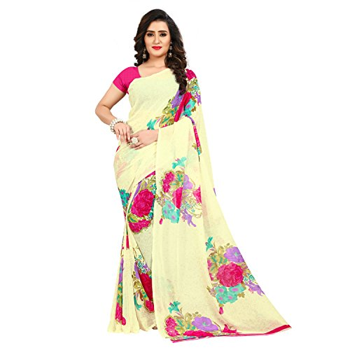 Kashvi Sarees Faux Georgette Printed Pink Color With blouse Piece ( 1434_1)