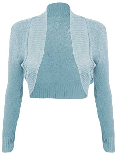 Baleza femme à manches longues et ouvert Boléro en tricot Cardigan haut court Bleu - Aqua