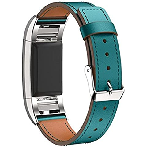 Fitbit Charge 2 Leather Band, SoftFloat Replacement Luxury Genuine Leather Band Strap for Fitbit Charge 2 ,with Metal Clasp (blue)