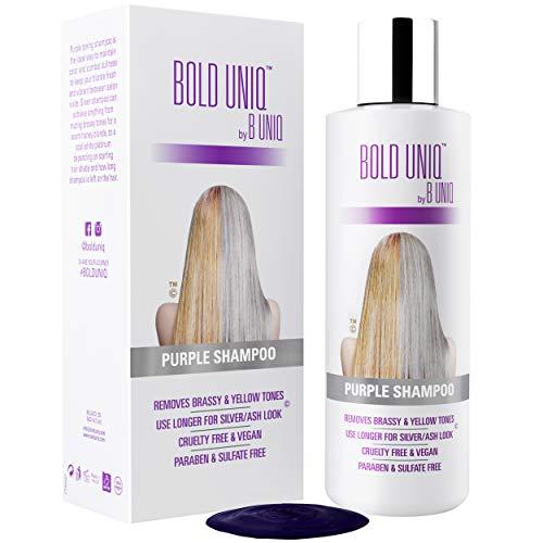 Der SIEGER 2019 - Silbershampoo - Anti-Gelbstich Purple Shampoo für blonde, blondierte, gesträhnte und graue Haar - No Yellow von B Uniq für Silber- / Aschblond-Tönung - ohne Sulfat & Paraben - 250ml