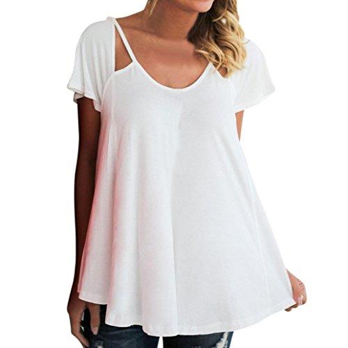 Frau Tops, YunYoud Damen Rundhals Pullover Kurzarm Bluse Beiläufig Sommer Oberteile Einfarbig Sweatshirt Lose Kleidung (S, Weiß)