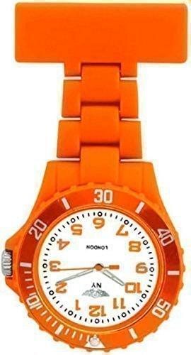 Prince NY London Orange Silikon Gummi Plastik Taschenuhr Krankenschwester Uhr in Royal Orange Farbe