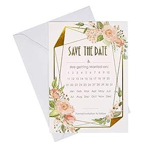 Neviti 775288 Geo - Tarjetas de felicitación (10 unidades, 20,7 x 14,6 x 0,1 cm), diseño floral, color rosa y dorado