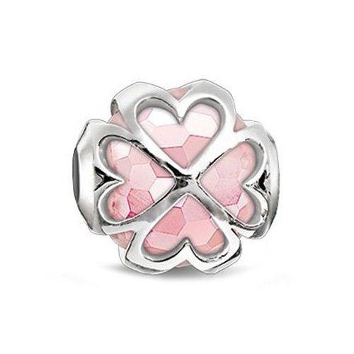 Thomas Sabo Damen-Bead Karma Kleeblatt rosé 925 Silber Quarz rosa - K0170-034-9