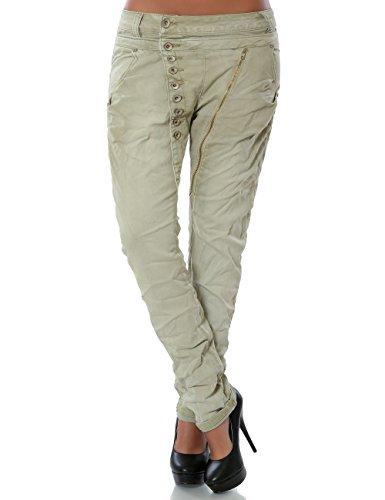 Damen Boyfriend Jeans Hose Reißverschluss Knopfleiste (weitere Farben) No 14145, Farbe:Beige;Größe:42 / XL