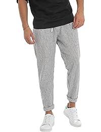 e502ec208f Giosal Pantalone Uomo Lino Fantasia A Righe Bicolore Rigato Elastico Look  Casual MDI