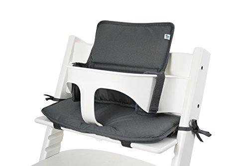 Tinydo Hochstuhl-Sitzkissen+ optimal für Stokke Tripp-Trapp und viele anderen Treppenhochstühle - 2teilg. Set mit Memory-Schaum-Dämpfung - Sitzverkleinerer-Auflage für Babystühle! (Dunkelgrau)