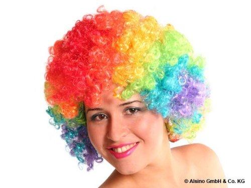Alsino Curly Bunte XXL Afro Clown Lockenkopf Wig Perücken - für Fasching und Karneval, Regenbogen - Bunt