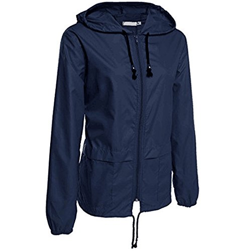 ESAILQ Frau Leichte Regenjacke Im Freien Packbare wasserdichte Kapuze Regenmantel(XL,Marine)